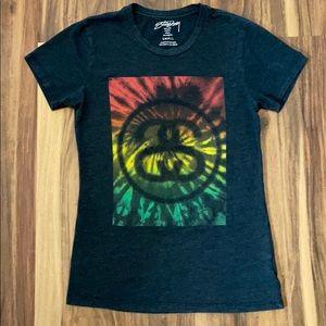 Stussy Tye Dye black t shirt Junior SMALL t-shirt